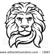 Vector Illustration of a Black and White Male Lion Head by AtStockIllustration