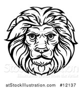 Vector Illustration of a Black and White Male Lion Head Mascot by AtStockIllustration