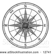 Vector Illustration of a Black and White Map Compass Rose by AtStockIllustration