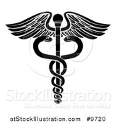 Vector Illustration of a Black and White Medical Caduceus with Snakes on a Winged Rod by AtStockIllustration
