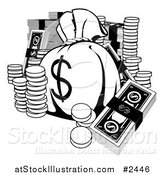 Vector Illustration of a Black and White Money Bag with Cash and Coins by AtStockIllustration
