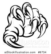 Vector Illustration of a Black and White Monster Claw with Sharp Talons by AtStockIllustration