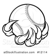 Vector Illustration of a Black and White Monster or Eagle Claws Holding a Baseball by AtStockIllustration