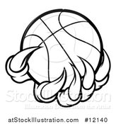 Vector Illustration of a Black and White Monster or Eagle Claws Holding a Basketball by AtStockIllustration