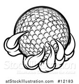 Vector Illustration of a Black and White Monster or Eagle Claws Holding a Golf Ball by AtStockIllustration