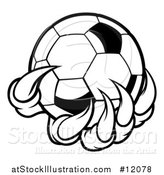 Vector Illustration of a Black and White Monster or Eagle Claws Holding a Soccer Ball by AtStockIllustration