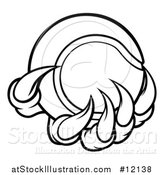 Vector Illustration of a Black and White Monster or Eagle Claws Holding a Tennis Ball by AtStockIllustration
