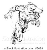 Vector Illustration of a Black and White Muscular Aggressive Boar Mascot Running Upright by AtStockIllustration