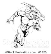 Vector Illustration of a Black and White Muscular Aggressive Dragon Man Mascot Running Upright by AtStockIllustration