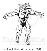 Vector Illustration of a Black and White Muscular Angry Lion Man Roaring with Claws Bared by AtStockIllustration