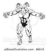 Vector Illustration of a Black and White Muscular Angry Ram with Claws Bared by AtStockIllustration