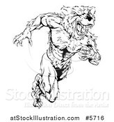 Vector Illustration of a Black and White Muscular Bear Man Running Upright by AtStockIllustration