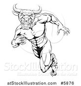 Vector Illustration of a Black and White Muscular Bull Man Mascot Running Upright by AtStockIllustration