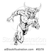 Vector Illustration of a Black and White Muscular Bull Mascot Running by AtStockIllustration
