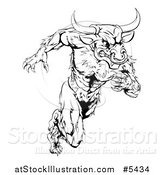 Vector Illustration of a Black and White Muscular Bull Mascot Running Upright by AtStockIllustration
