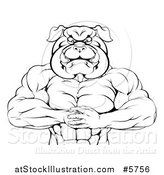 Vector Illustration of a Black and White Muscular Bulldog Man Punching One Fist into a Palm by AtStockIllustration