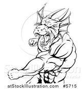 Vector Illustration of a Black and White Muscular Dragon Man Punching by AtStockIllustration