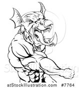 Vector Illustration of a Black and White Muscular Fighting Welsh Dragon Man Punching by AtStockIllustration