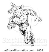 Vector Illustration of a Black and White Muscular Fox Man Sprinting by AtStockIllustration
