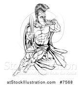 Vector Illustration of a Black and White Muscular Gladiator Man in a Helmet Fighting with a Sword and Holding up a Fist by AtStockIllustration