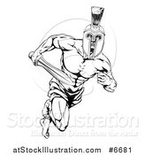 Vector Illustration of a Black and White Muscular Gladiator Man in a Helmet Sprinting with a Sword by AtStockIllustration