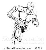 Vector Illustration of a Black and White Muscular Gladiator Running with a Sword by AtStockIllustration