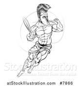 Vector Illustration of a Black and White Muscular Gladiator Spartan Man in a Helmet Fighting with a Sword and Holding up a Fist by AtStockIllustration