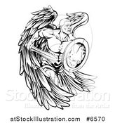 Vector Illustration of a Black and White Muscular Male Guardian Angel Running with a Shield and Sword by AtStockIllustration