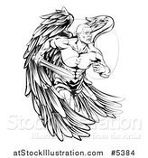 Vector Illustration of a Black and White Muscular Male Guardian Angel with a Sword by AtStockIllustration