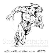Vector Illustration of a Black and White Muscular Panther Mascot Running Upright by AtStockIllustration