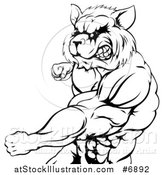 Vector Illustration of a Black and White Muscular Raccoon Man Mascot Punching from the Hips up by AtStockIllustration