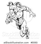 Vector Illustration of a Black and White Muscular Ram Running Upright by AtStockIllustration