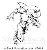 Vector Illustration of a Black and White Muscular Shark Man Mascot Running by AtStockIllustration
