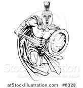 Vector Illustration of a Black and White Muscular Spartan Man in a Cape, Running with a Sword and Shield by AtStockIllustration
