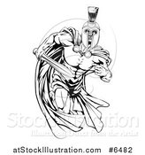 Vector Illustration of a Black and White Muscular Spartan Warrior Man in a Cape, Running with a Sword by AtStockIllustration