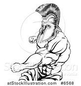Vector Illustration of a Black and White Muscular Strong Spartan Warrior Mascot Punching by AtStockIllustration