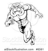 Vector Illustration of a Black and White Muscular Tough Bulldog Man Mascot Sprinting Upright by AtStockIllustration
