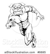 Vector Illustration of a Black and White Muscular Tough Bulldog Man Mascot Sprinting Upright to the Left by AtStockIllustration