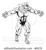 Vector Illustration of a Black and White Muscular Vicious Bear Man with Claws Extended by AtStockIllustration