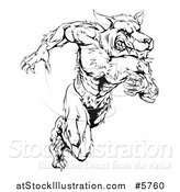 Vector Illustration of a Black and White Muscular Wolf Man Running Upright by AtStockIllustration