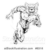 Vector Illustration of a Black and White Muscular Wolf Man Sprinting by AtStockIllustration