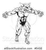 Vector Illustration of a Black and White Muscular Wolf Mascot Standing Upright by AtStockIllustration