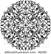 Vector Illustration of a Black and White Ornate Floral Circle Tattoo by AtStockIllustration