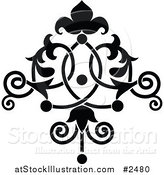 Vector Illustration of a Black and White Ornate Floral Tattoo by AtStockIllustration