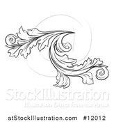 Vector Illustration of a Black and White Ornate Vintage Floral Design Element by AtStockIllustration