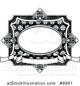 Vector Illustration of a Black and White Ornate Vintage Floral Frame by AtStockIllustration