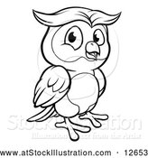 Vector Illustration of a Black and White Owl Mascot by AtStockIllustration