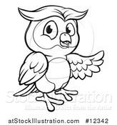 Vector Illustration of a Black and White Owl Mascot Presenting by AtStockIllustration