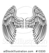 Vector Illustration of a Black and White Pair of Feathered Wings in Woodcut Style by AtStockIllustration