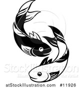 Vector Illustration of a Black and White Pair of Fish by AtStockIllustration